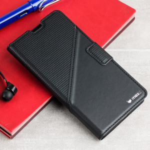 This elegant leather-style flip case in black from Mozo provides a slim look which offers fantastic all round protection for the Microsoft Lumia 650.