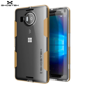 The Cloak Protective bumper case in gold and clear from Ghostek comes complete with a tough tempered glass screen protector to provide your Microsoft Lumia 950 XL with fantastic all round protection.