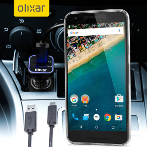 Keep your Nexus 5X fully charged on the road with this compatible Olixar high power dual USB 3.1A Car Charger with an included high quality USB to USB-C charging cable.