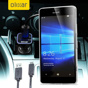 Keep your Microsoft Lumia 950 fully charged on the road with this compatible Olixar high power dual USB 3.1A Car Charger with an included high quality USB to USB-C charging cable.