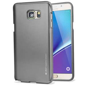 A premium gel case for your Galaxy Note 5. The Mercury Goospery Jelly features a superb metallic grey gloss UV finish and robust high quality TPU gel material that will take all the knocks and look fabulous while doing so.