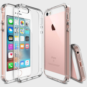 Protect the back and sides of your Apple iPhone SE with this incredibly durable, crystal clear backed Fusion Case by Ringke.