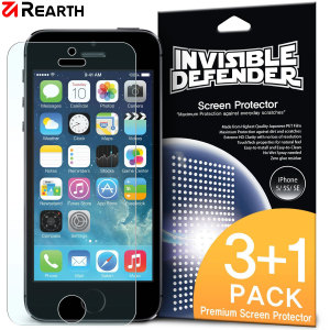 3 pack (plus one extra free) of multi-layered optical enhanced high definition screen protectors for the iPhone SE. Features new 'TouchTech' properties for a natural touch and allows for perfect touch screen precision.