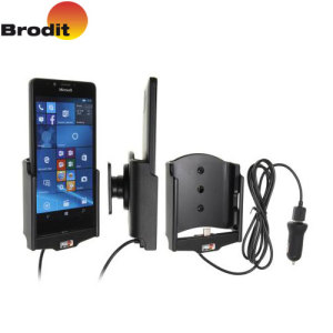 Charge and use your Microsoft Lumia 950 safely in your vehicle with this Brodit Active Holder with Tilt Swivel and fast charging in-car charger.