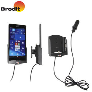 Charge and use your Microsoft Lumia 950 XL safely in your vehicle with this Brodit Active Holder with Tilt Swivel and fast charging in-car charger.