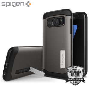 The Slim Armour case in gunmetal for the Samsung Galaxy S7 Edge has shock absorbing technology specifically incorporated to protect the device from any angle.