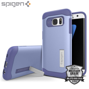 The Slim Armour case in violet for the Samsung Galaxy S7 Edge has shock absorbing technology specifically incorporated to protect the device from any angle.