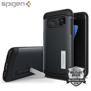 Coque Samsung Galaxy S7 Edge Spigen Slim Armour - Ardoise Métallique