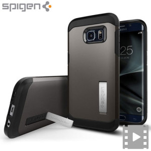 The Spigen Tough Armor in gunmetal is the new leader in lightweight protective cases. The new Air Cushion Technology corners reduce the thickness of the case while providing optimal protection for your Samsung Galaxy S7 Edge.