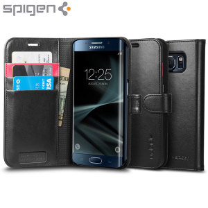 The slim Spigen Samsung Galaxy S7 Edge Wallet S Case in black comes complete with a card slot, stand feature and is made with a luxurious faux leather material for a polished and professional look.