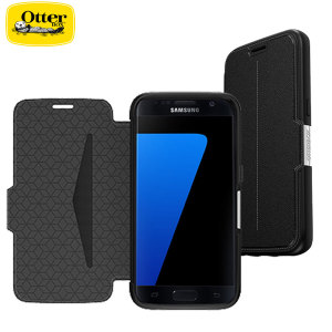 A sophisticated lightweight black genuine leather case, the OtterBox genuine leather wallet cover offers perfect protection for your Galaxy S7, as well as featuring slots for your cards, cash and documents.