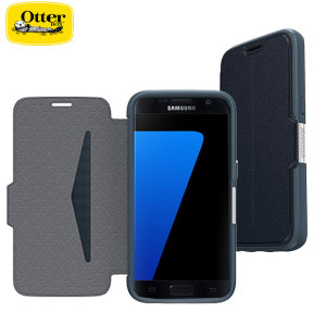 A sophisticated lightweight blue genuine leather case, the OtterBox genuine leather wallet cover offers perfect protection for your Galaxy S7, as well as featuring slots for your cards, cash and documents.