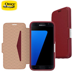 A sophisticated lightweight red genuine leather case, the OtterBox genuine leather wallet cover offers perfect protection for your Galaxy S7, as well as featuring slots for your cards, cash and documents.