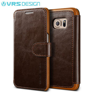 The VRS Design Dandy Wallet Case in brown for the Samsung Galaxy S7 Edge comes complete with card slots, a large document pocket and is made with a luxurious leather-style material for a classic, prestige and professional look.