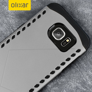 The Olixar Shield case in grey for the Samsung Galaxy S7 features a double layered design for shock absorption and to protect your device against scratches and drops from any angle.