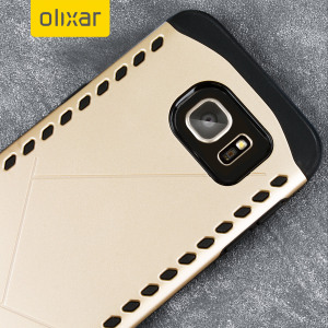 The Olixar Shield case in gold for the Samsung Galaxy S7 features a double layered design for shock absorption and to protect your device against scratches and drops from any angle.