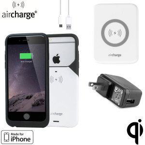 Charge your iPhone 6S / 6 using this aircharge MFi Wireless US Charging Pack. Simply put down your iPhone and charge up! Also features Apple's MFi or 'Made for iPhone' certification for complete peace of mind and quality assurance. Includes a US Plug.