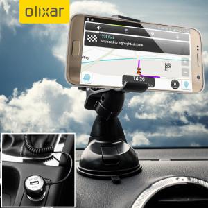 Artículos esenciales que necesitará para su smartphone durante un viaje en coche. Este pack de coche Olixar DriveTime incluye un soporte de coche y un cargador para su Samsung Galaxy S7.