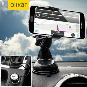 Artículos esenciales que necesitará para su smartphone durante un viaje en coche. Este pack de coche Olixar DriveTime incluye un soporte de coche y un cargador para su Samsung Galaxy S7 Edge.