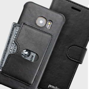 Protect your Galaxy S7 Edge with this ingenious and luxurious eco-leather wallet case from Prodigee in black. This stylish wallet case stores your cards and also includes a viewing stand function. Detachable case makes this 2-in-1.
