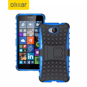 Protect your Microsoft Lumia 650 from bumps and scrapes with this blue ArmourDillo case from Olixar. Comprised of an inner TPU case and an outer impact-resistant exoskeleton, with a built-in viewing stand.