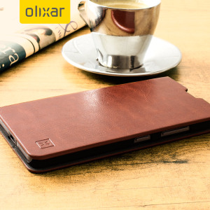 The Olixar leather-style Microsoft Lumia 650 Wallet Case in brown provides enclosed protection and can also be used to hold your credit cards. The case also transforms into a viewing stand for added convenience.