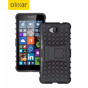 Protect your Microsoft Lumia 650 from bumps and scrapes with this black ArmourDillo case from Olixar. Comprised of an inner TPU case and an outer impact-resistant exoskeleton, with a built-in viewing stand.