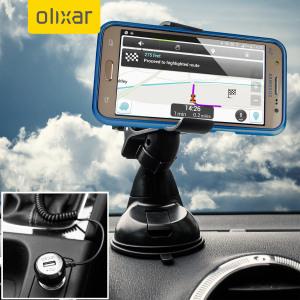 Tout ce dont vous avez besoin pour charger et utiliser votre Samsung Galaxy J5 pendant vos déplacements en voiture se trouve dans ce pack chargeur + Support DriveTime de chez Olixar. Le support est robuste et le chargeur est pratique avec un port USB supplémentaire.