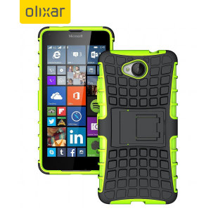 Protect your Microsoft Lumia 650 from bumps and scrapes with this green ArmourDillo case from Olixar. Comprised of an inner TPU case and an outer impact-resistant exoskeleton, with a built-in viewing stand.