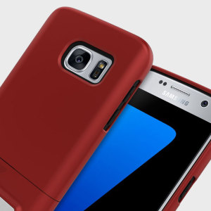 A sleek and slimline soft-touch dark red and black case for the Samsung Galaxy S7. Offering superb protection, minimal bulk and integrated kickstand for viewing media.