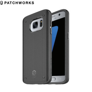 The Patchworks Flexguard in black is a stylish and ergonomic protective case for the Samsung Galaxy S7, providing impact absorption and improved grip due to the textured surface.
