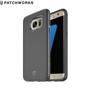 The Patchworks Flexguard in black is a stylish and ergonomic protective case for the Samsung Galaxy S7 Edge, providing impact absorption and improved grip due to the textured surface.