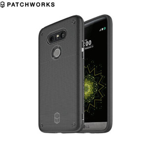 The Patchworks Flexguard in black is a stylish and ergonomic protective case for the LG G5, providing impact absorption and improved grip due to the textured surface.