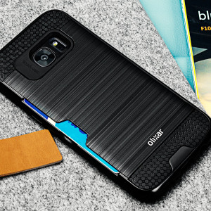 Designed for the Samsung Galaxy S7 Edge, this black dual layered card case from Olixar provides a perfect fit and durable protection against scratches, knocks and drops with the added convenience of a credit card-sized slot.