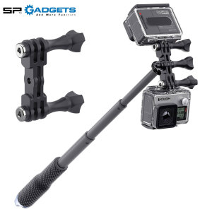 Double your video footage and double the fun. The Dual GoPro camera mount from SP Gadgets allows you to capture a live event in two unique angles. Ideal for reactions and scenery, the Dual Mount provides endless possibilities with a range of accessories.