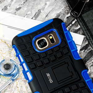 Protect your Samsung Galaxy S7 from bumps and scrapes with this blue ArmourDillo case from Olixar. Comprised of an inner TPU case and an outer impact-resistant exoskeleton, with a built-in viewing stand.