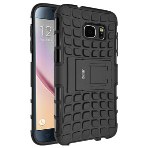 Protect your Samsung Galaxy S7 Edge from bumps and scrapes with this black ArmourDillo case from Olixar. Comprised of an inner TPU case and an outer impact-resistant exoskeleton, with a built-in viewing stand.