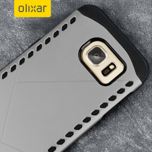 The Olixar Shield case in dark grey for the Samsung Galaxy S7 Edge features a double layered design for shock absorption and to protect your device against scratches and drops from any angle.