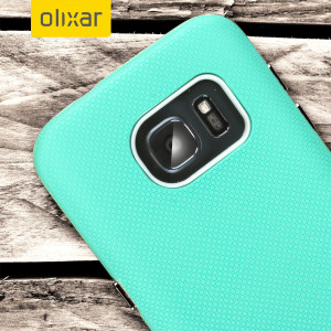 Custom moulded for the Samsung Galaxy S7 Edge, this mint and grey rugged DuoMesh case from Olixar provides a perfect fit and durable protection against scratches, knocks and drops.