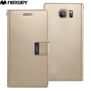 With the perfect blend of elegance, functionality and protection, this luxurious wallet case from Mercury in gold is the ideal companion for your Samsung Galaxy S7. Featuring 5 card slots and a document pocket you can carry more, easily.