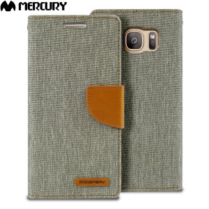 With the perfect blend of lightweight and tough materials, mixed with snappy looks, this grey and camel Mercury Canvas Diary Wallet Case is the ideal companion for your Samsung Galaxy S7 - Especially when you're out and about.