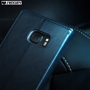 The Mercury Blue Moon Wallet case in navy for the  Samsung Galaxy S7 delivers exceptional style in a slim and sleek package. Crafted from premium materials, the case looks amazing and features slots for your cards and documents.
