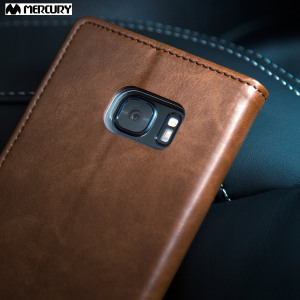 The Mercury Blue Moon Wallet case in brown for the  Samsung Galaxy S7 delivers exceptional style in a slim and sleek package. Crafted from premium materials, the case looks amazing and features slots for your cards and documents.