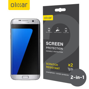 Keep your Samsung Galaxy S7 Edge's screen in pristine condition with this Olixar scratch-resistant edge-to-edge TPU screen protector 2-in-1 pack. Ultra responsive and easy to apply, these protectors are the ideal way to keep your display looking brand new