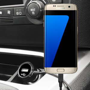Keep your Samsung Galaxy S7 Edge fully charged on the road with this high power 2.4A Car Charger, featuring extendable spiral cord design. As an added bonus, you can charge an additional USB device from the built-in USB port!