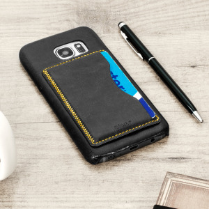 Designed for the Samsung Galaxy S7, this black leather-style case from Olixar provides a perfect fit and durable protection against scratches, knocks and drops with the added convenience of a credit card-sized slot and built-in viewing stand.
