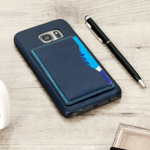 Designed for the Samsung Galaxy S7, this blue leather-style case from Olixar provides a perfect fit and durable protection against scratches, knocks and drops with the added convenience of a credit card-sized slot and built-in viewing stand.