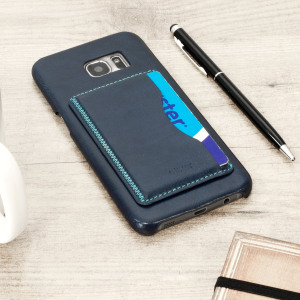 Designed for the Samsung Galaxy S7 Edge, this blue leather-style case from Olixar provides a perfect fit and durable protection against scratches, knocks and drops with the added convenience of a credit card-sized slot and built-in viewing stand.