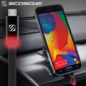 The FlatOut charge and sync cable in black from Scosche allows you to charge Micro USB devices. This non-tangle flat design is perfect for avoiding messy cables and even features a built-in LED for finding ports in the dark.