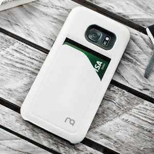 Designed for the Samsung Galaxy S7 Edge, this metallic white dual-layered card case from Matchnine provides a perfect fit and durable protection against scratches, knocks and drops with the added convenience of a credit card-sized pocket.